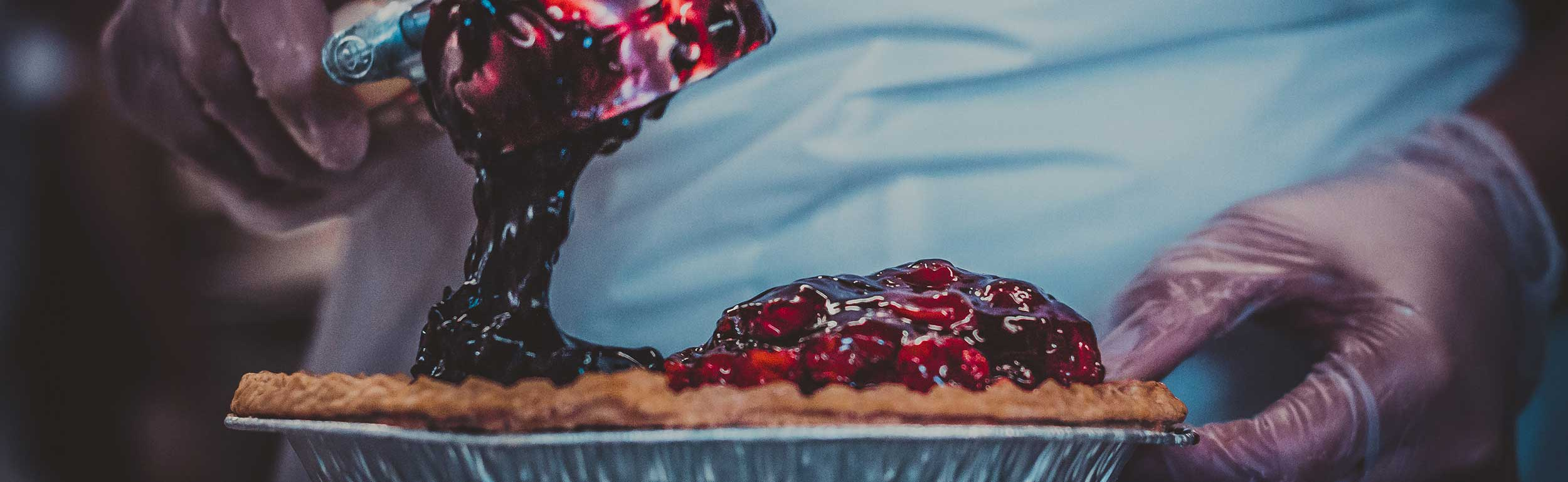 pie scooping cherry filling